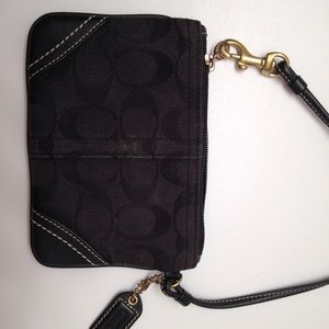 Coach Bags - Coach signature v black jacquard leather wristlet